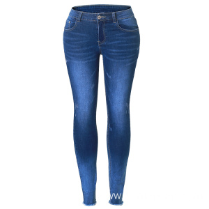 Classical Indigo Blue Monkey Wash Skinny Fit Women Jeans